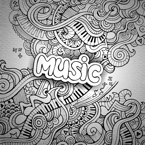 Music Sketch Floral Pattern Vector Background Free Download