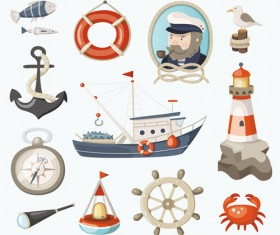 Navigation marine elements retro style vector