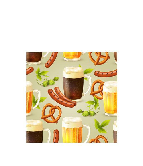 Oktoberfest Elements Pattern Seamless Vector Over