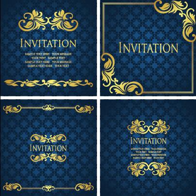 ornate gold ornament invitation card background vector 02 free download