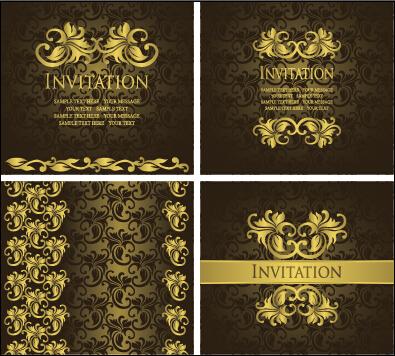 Ornate Gold Ornament Invitation Card Background Vector 03