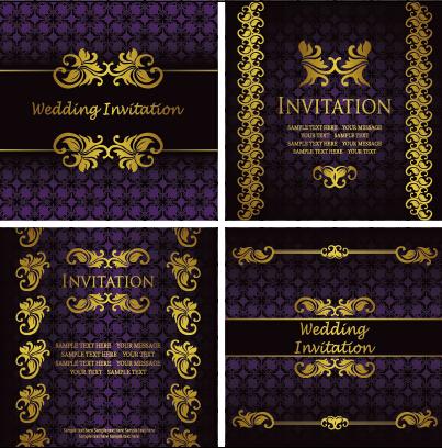 Ornate Gold Ornament Invitation Card Background Vector 04