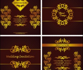 Wedding card background 01 vector free download ornate gold ornament invitation card background vector 05 stopboris Gallery
