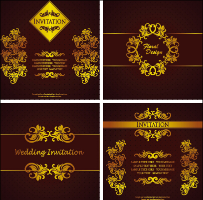 Ornate Gold Ornament Invitation Card Background Vector 05