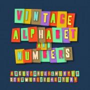 Link toRetro alphabet set vector material 04