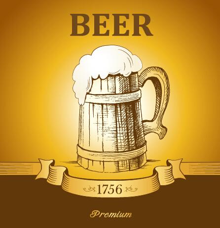 Retro Beer Creative Poster Vector 01