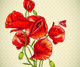 Retro red poppies cards vector graphics 03