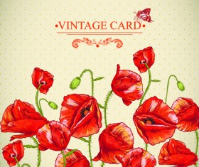 Retro red poppies cards vector graphics 04