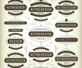 Retro ribbon labels design graphics vector 02