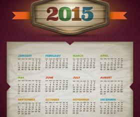 Retro style calendar 2015 graphics vector 01