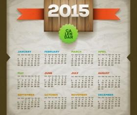 Retro style calendar 2015 graphics vector 04