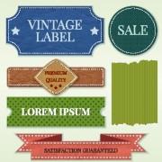 Link toRibbon and label retro design vector graphics 01