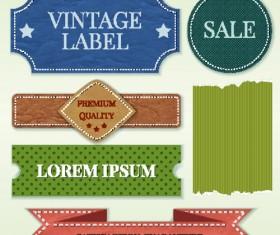 Ribbon and label retro design vector graphics 01