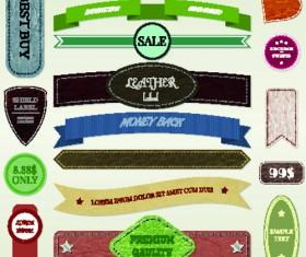 Ribbon and label retro design vector graphics 02