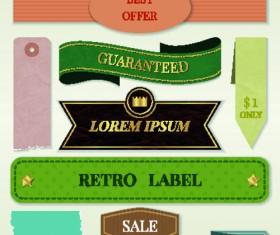 Ribbon and label retro design vector graphics 03
