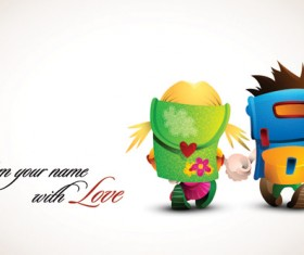 Romantic cartoon characters design vector 01