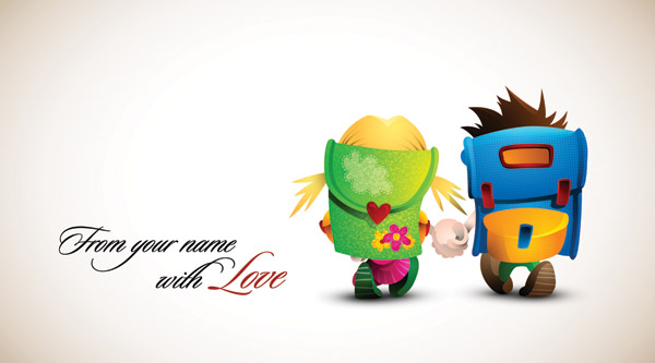 Romantic cartoon characters design vector 01