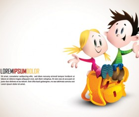 Romantic cartoon characters design vector 02