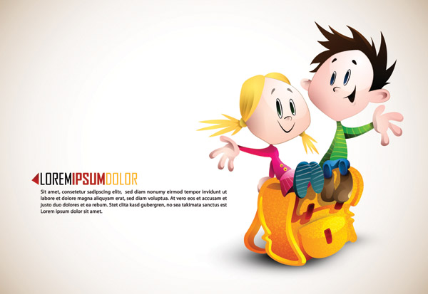 Cartoon Characters 02 : Romantic cartoon characters design vector over