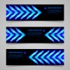 Shiny blue elements banners vector set 01