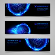 Link toShiny blue elements banners vector set 03