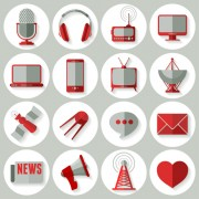 Link toSocial media icons red style vector 01