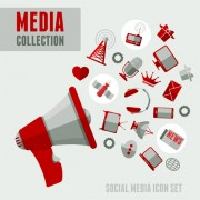 Link toSocial media icons red style vector 02