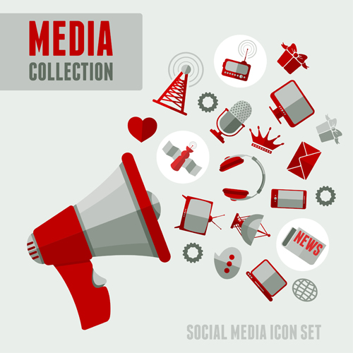 social media icons red style vector 02 – over millions vectors, Powerpoint templates