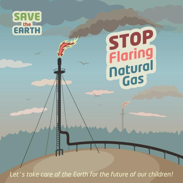 Stop flaring natural gas poster vector