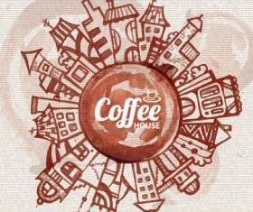 Travel and coffee elements vector background graphics