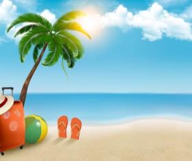 Travel summer beach background set vector 01