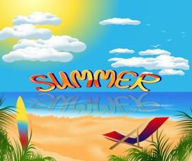 Travel summer beach background set vector 02