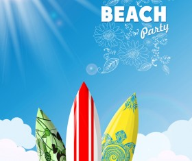 Travel summer beach background set vector 05