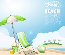 Travel summer beach background set vector 07