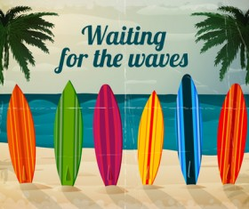 Travel summer beach background set vector 10