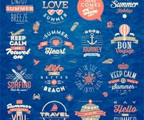 Travel summer holiday labels set vector 02