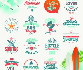 Travel summer holiday labels set vector 03