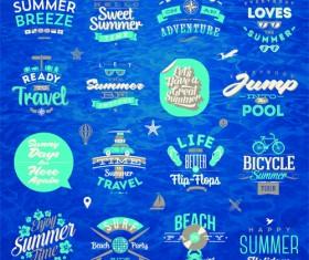 Travel summer holiday labels set vector 04