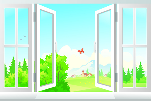 Warm windows design vector art 03 vector life free download for Par la fenetre ouverte comptine
