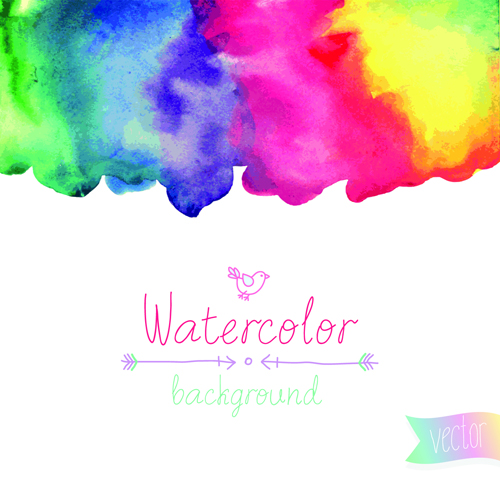 watercolor elements vector background material 01  u2013 over