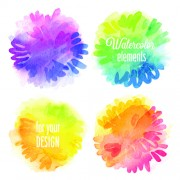 Watercolor elements vector background material 02
