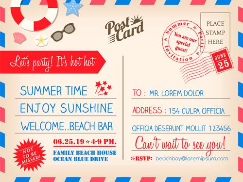 Graphic Design Wedding Invitations: Wedding Invitations Postcard Design Graphic Vector 02