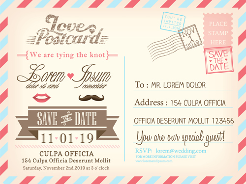 Wedding Invitations Postcard Design Graphic Vector   Vector Card