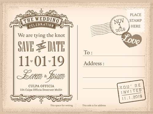 Wedding Invitations Postcard Design Graphic Vector 04 Free Download