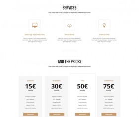 White and black business website template