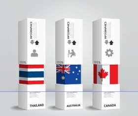 World flags with infographics design vector 03