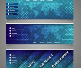 World maps and modern banners vector 02