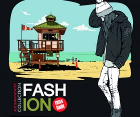 Young fashion elements poster vector 01