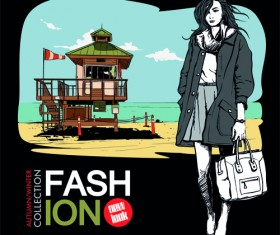 Young fashion elements poster vector 02