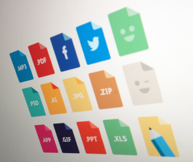 media with file colored icons psd
